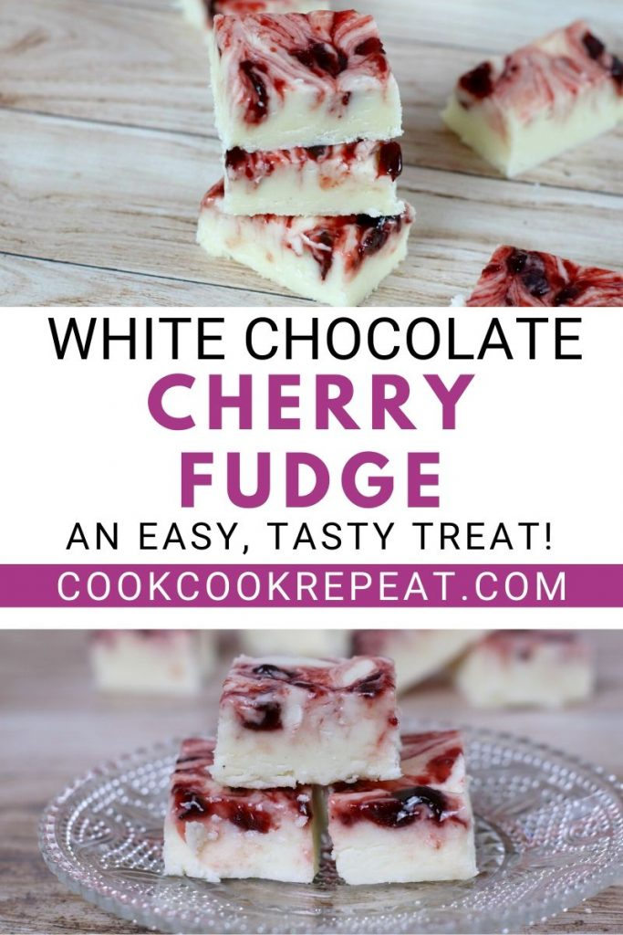 Another pin showing the finished white chocolate fudge with cherries.
