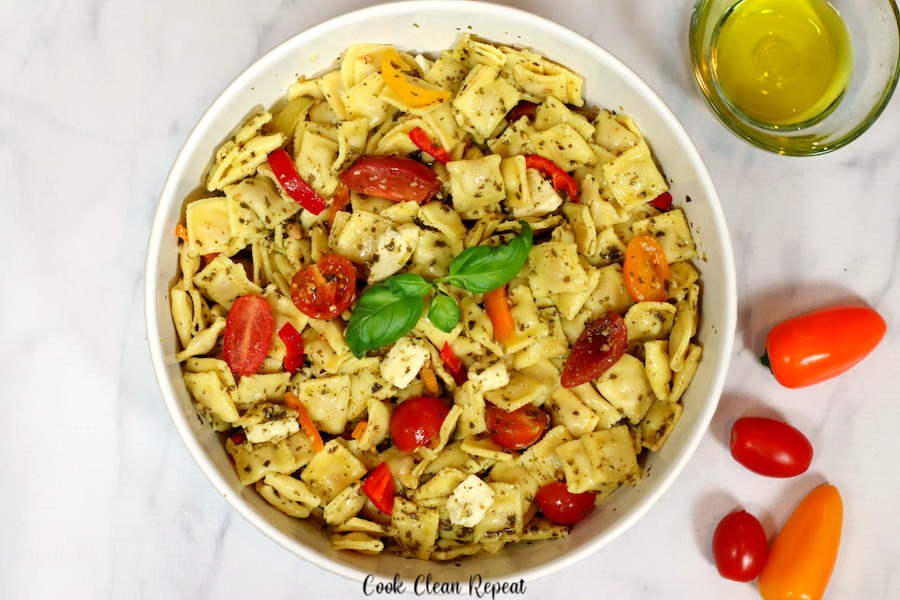 A large bowl full of the delicious pasta salad with veggies ready to eat.