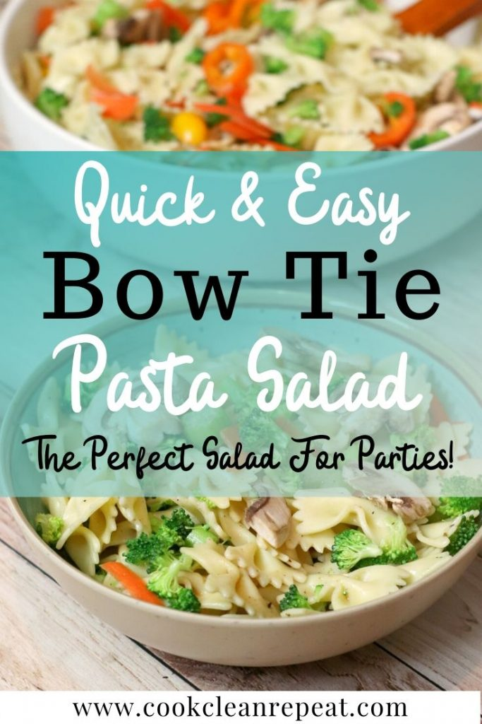 A pin showing the bow tie pasta salad in a bowl ready to eat.