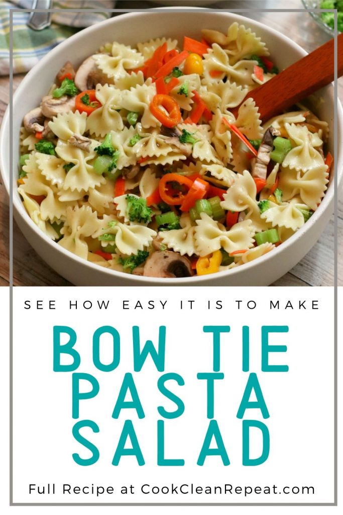 Another pin showing the finished bow tie pasta salad recipe.