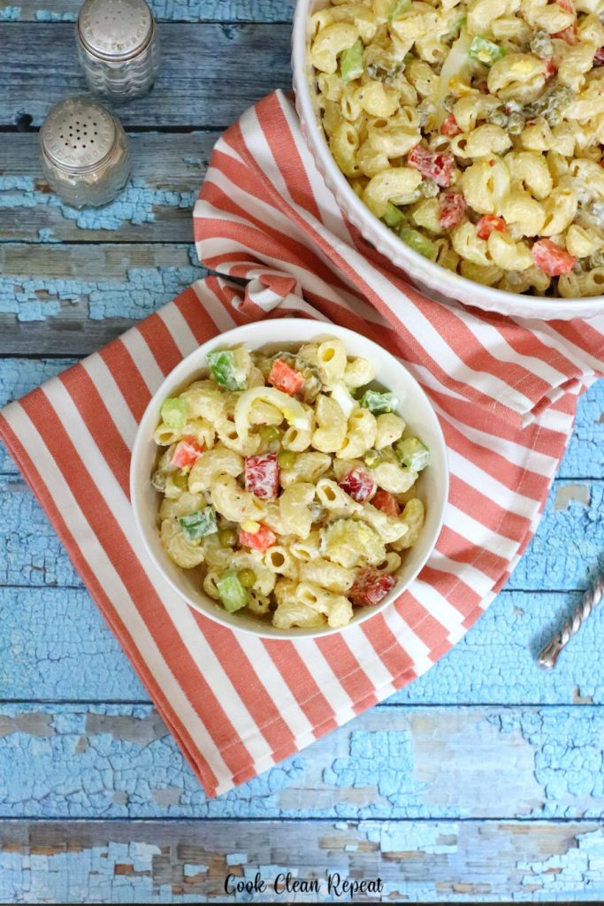 Top down look at the creamy pasta salad recipe finished and ready to eat.