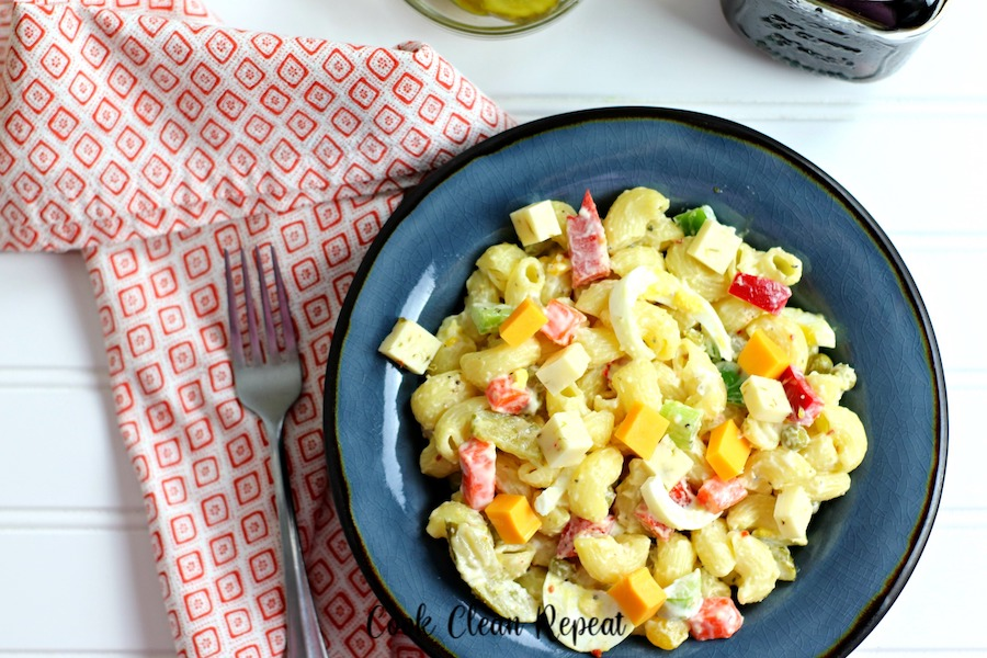A top down look at the finished recipe for creamy pasta salad.