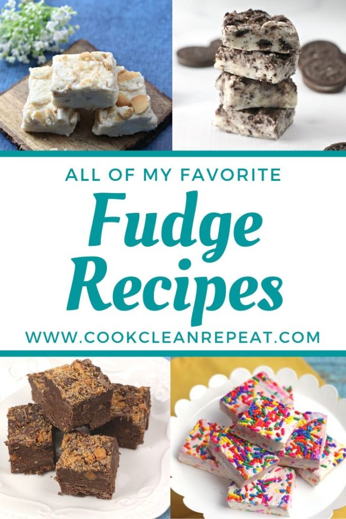 Featured images of the fudge recipes with the title in the middle.