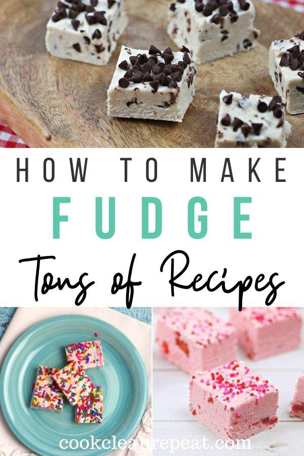 A pin showing the finished fudge recipes with the title in the middle.