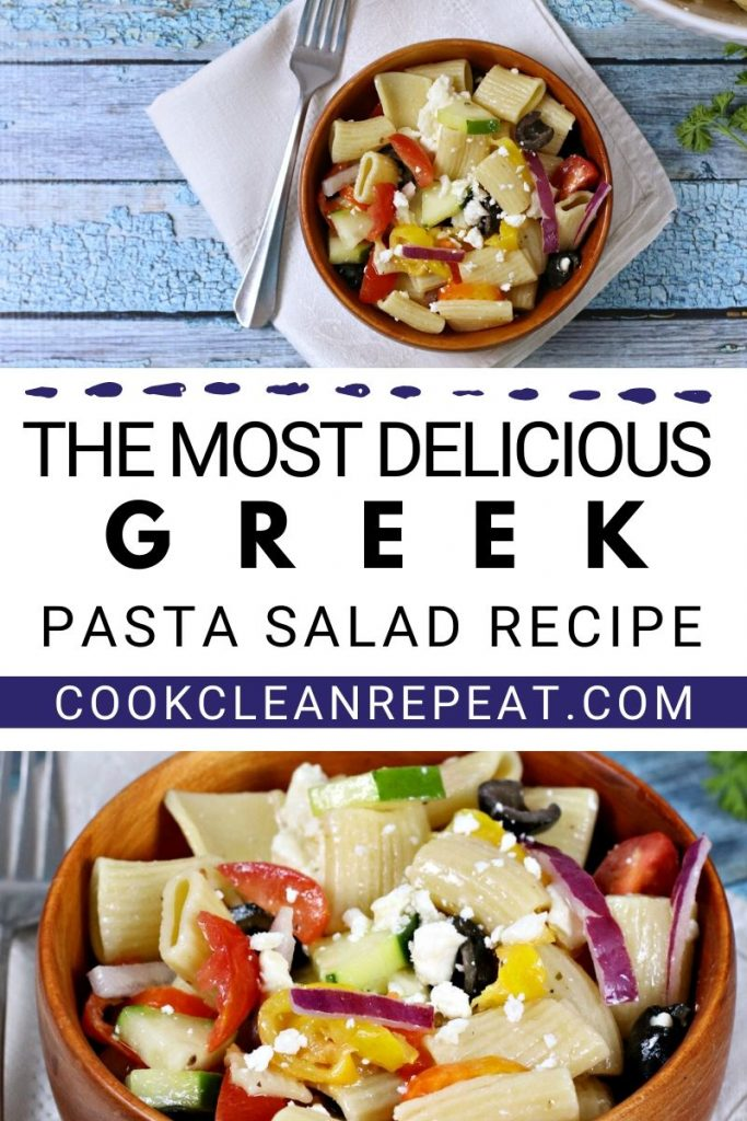 A final pin showing the finished greek pasta salad recipe.