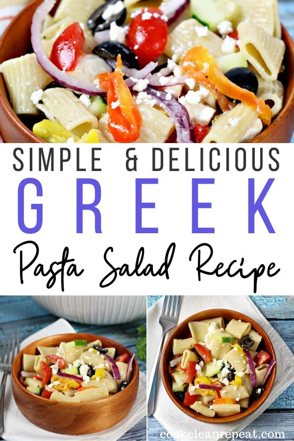 A pin showing the finished greek pasta salad.
