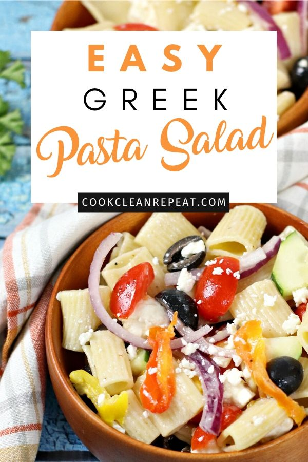 A pin showing the finished greek pasta salad recipe.