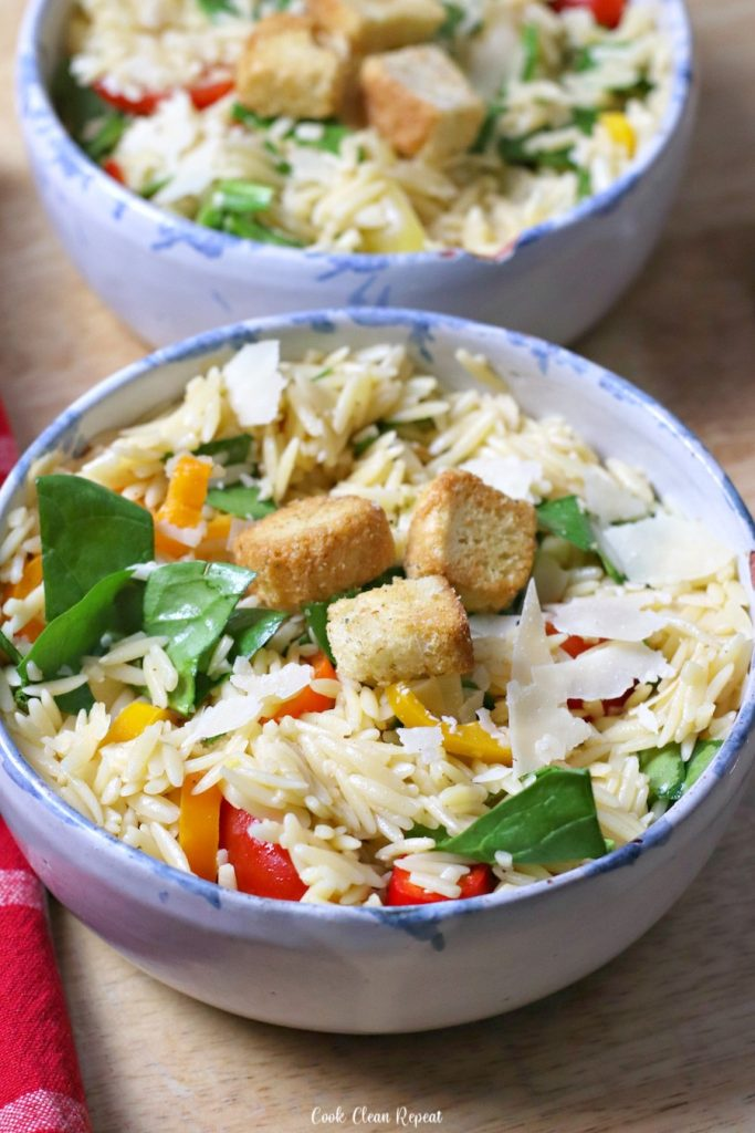 A look at the finished orzo pasta salad recipe