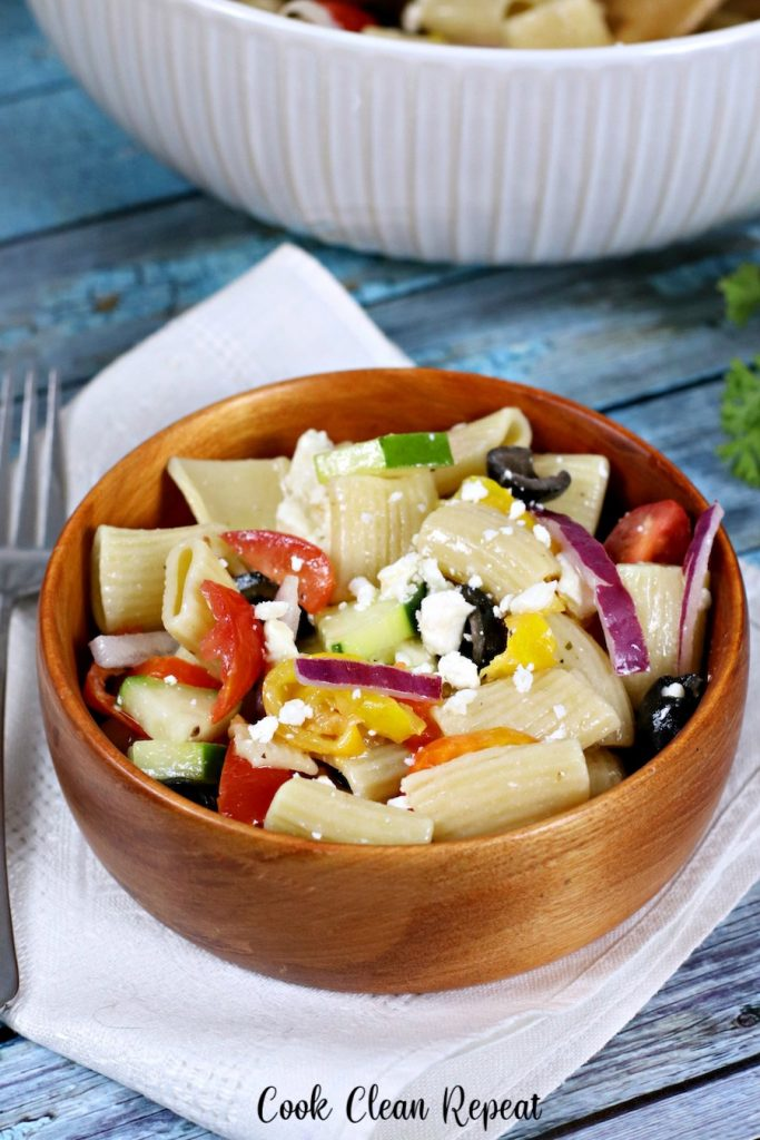 Delicious pasta salad recipe finished and ready to be enjoyed
