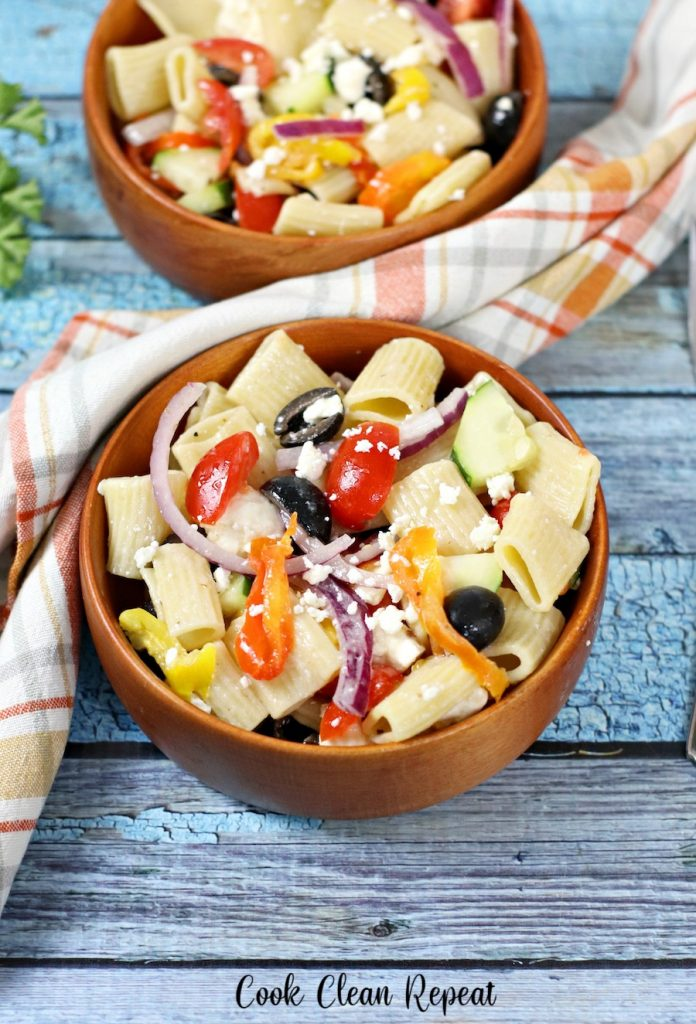 two bowls of the finished pasta salad ready to eat.