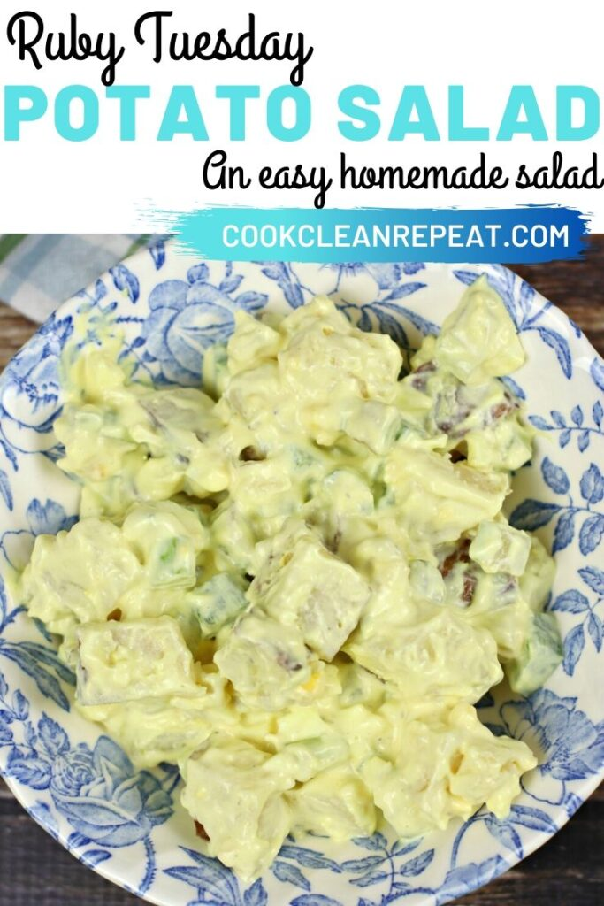 A pin showing the title at the top with the finished ruby Tuesday potato salad in a dish below.