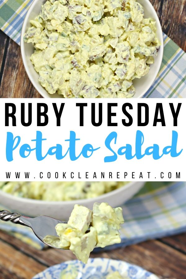 A pin showing the finished ruby Tuesday potato salad recipe in a bowl and on a fork ready to eat.