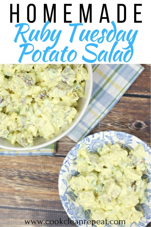 Another pin showing the finished potato salad recipe in a dish ready to eat.