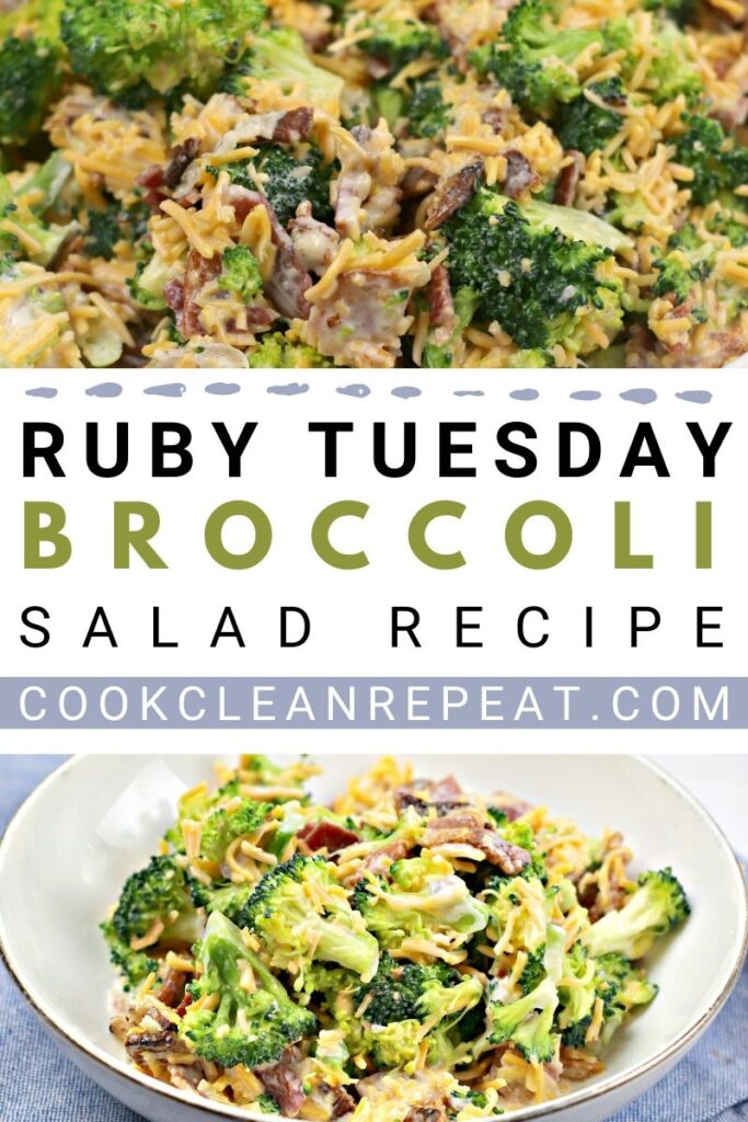 Another pin showing the title in the middle and the finished broccoli salad on the top and bottom.