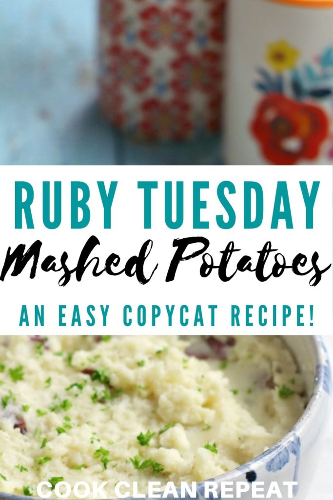 A pin showing the finished recipe with the title of ruby Tuesday mashed potatoes in the middle.