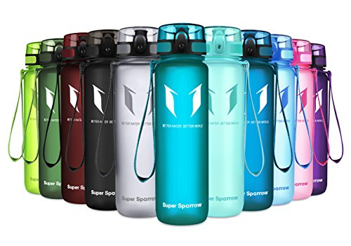 Super Sparrow Sports Water Bottle - 17oz & 32oz - Eco Friendly & BPA-Free Plastic - Fast Water Flow, Flip Top, Opens with 1-Click - Reusable with Leak-Proof Lid (Sea Glass, 1000ml-32oz)