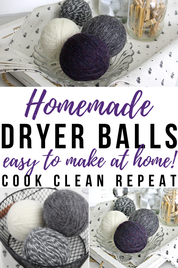 A pin showing the title homemade dryer balls that are easy to make at home.