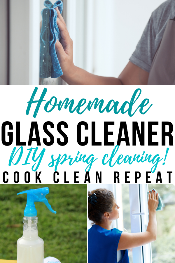 A pin showing the finished homemade glass cleaner recipe ready to use.