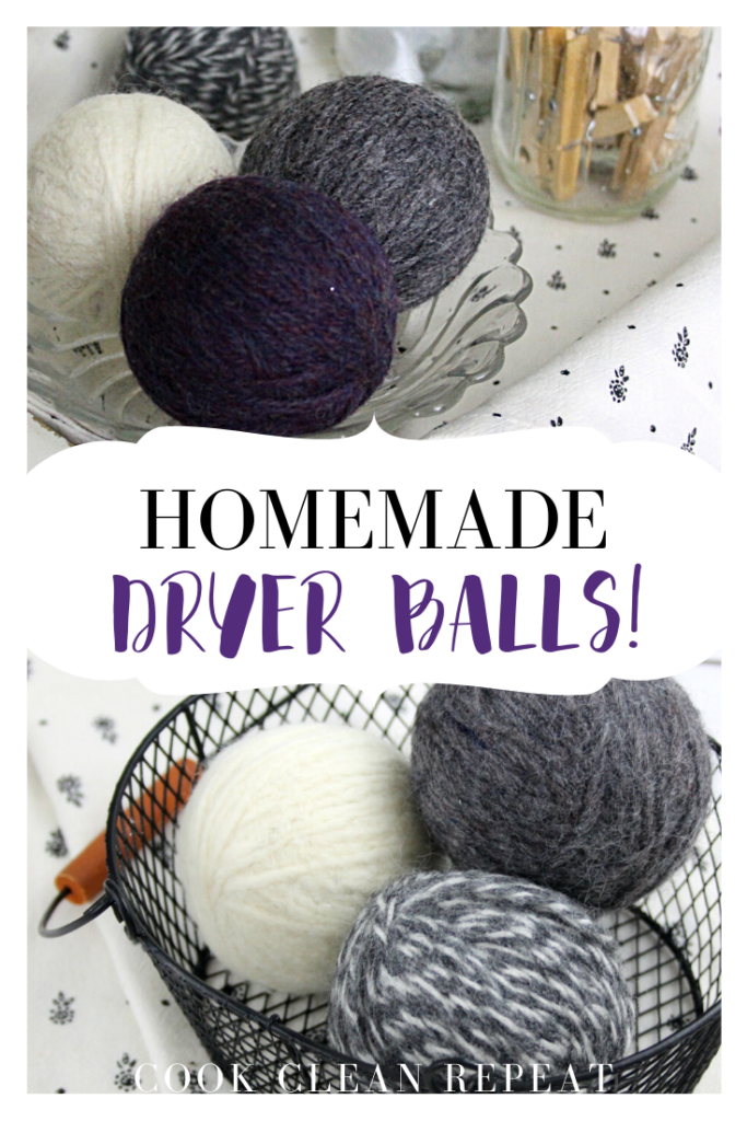 Pin showing the finished DIY dryer balls project on top and bottom with title in the middle.