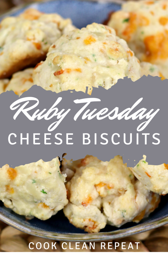 Pin showing the finished ruby Tuesday biscuits with cheese and garlic butter ready to eat.
