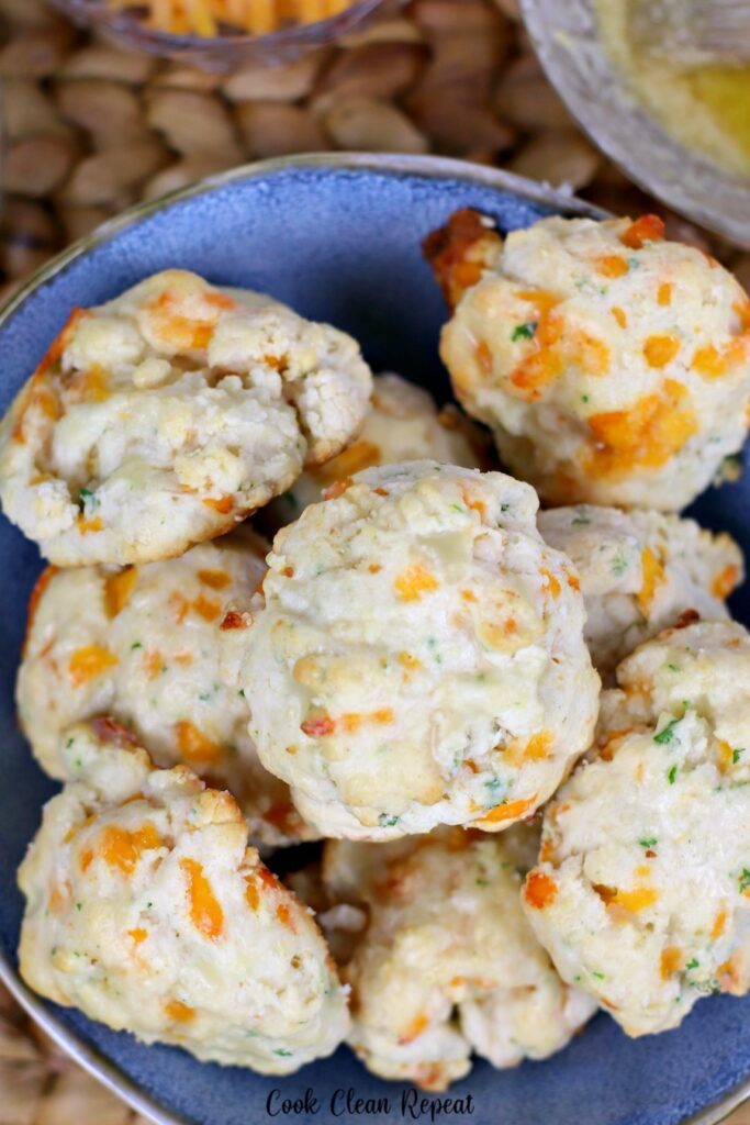 A top down look at some delicious cheesy ruby Tuesday biscuits.