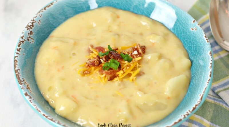 Featured image showing the finished ruby Tuesday potato cheese soup recipe in a bowl ready to be eaten.