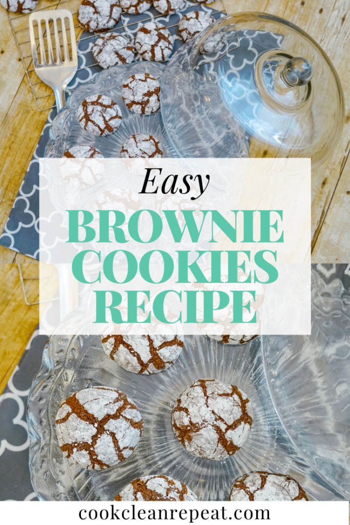 A pin showing two photos of the brownie cookies recipe finished and ready to enjoy.