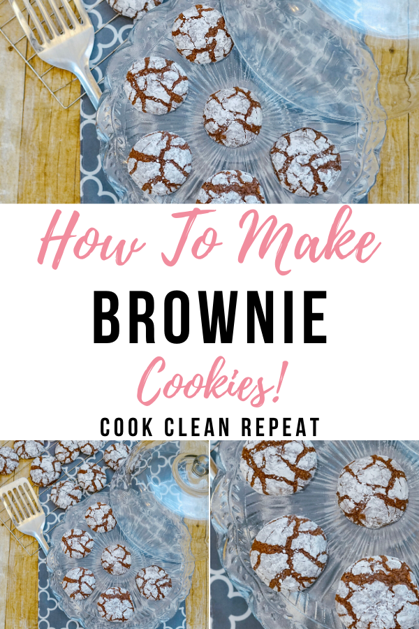 Another pin showing the finished cookies on top and bottom with the title hot to make brownie cookies in the middle.