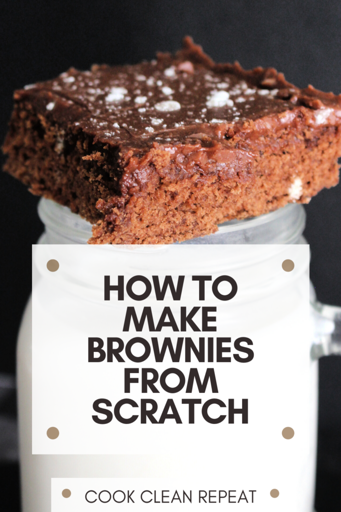 This pin shows the finished product of our how to make brownies from scratch tutorial!