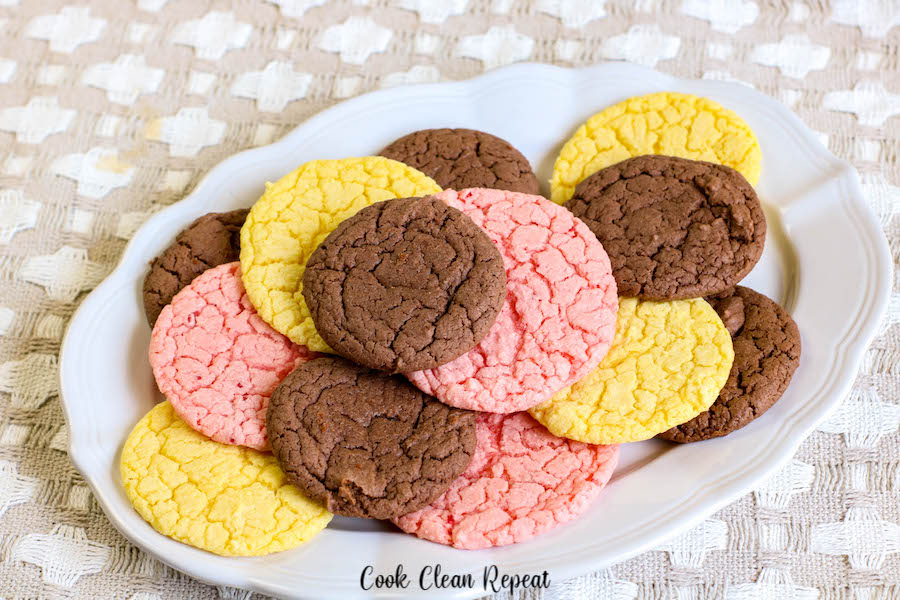 A featured image that shows a plate full of cake mix cookie recipe finished in three flavors!