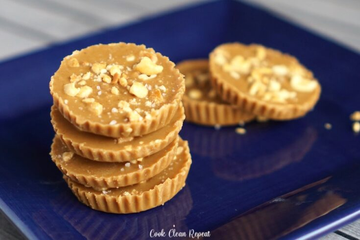 Featured image showing the finished maple peanut butter cups recipe ready to be eaten and enjoyed.