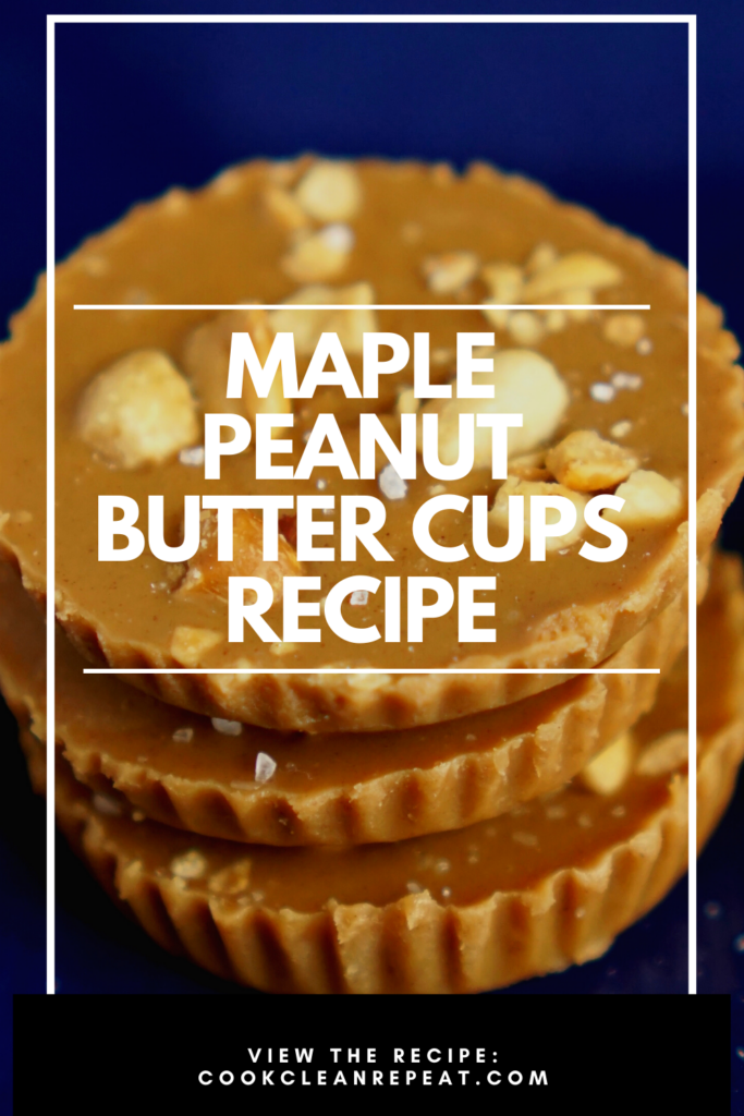 A pin that shows the finished peanut butter cups in the background and the title in the middle.