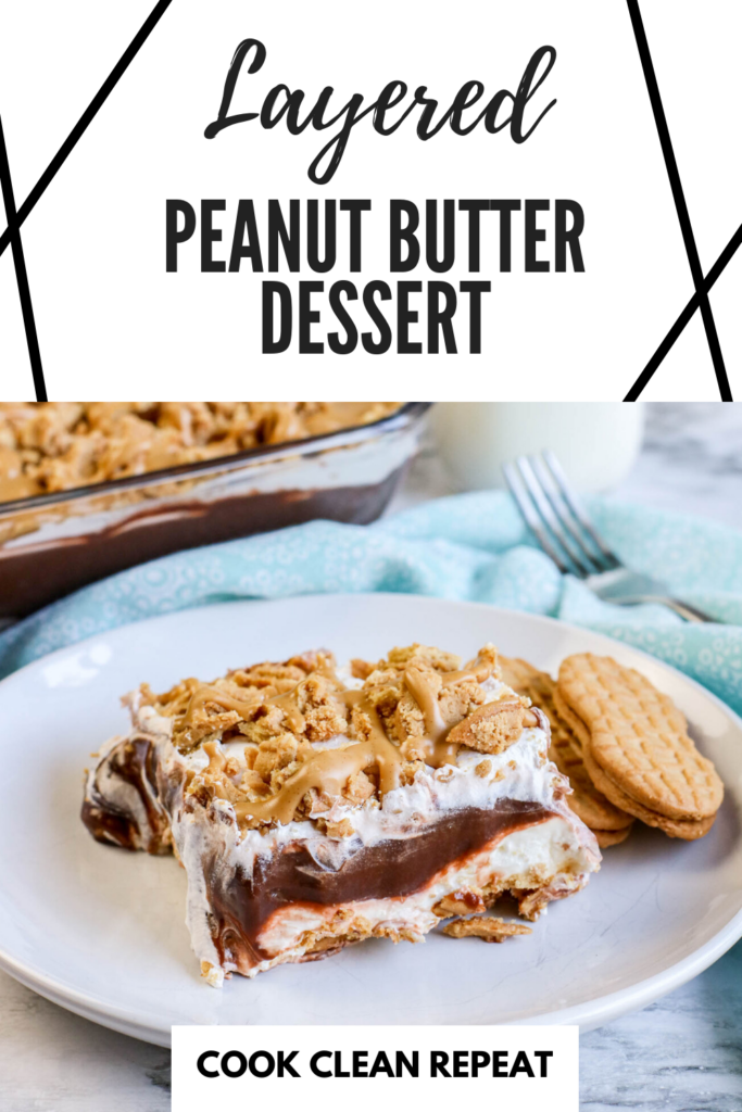 A pin showing the delicious peanut butter dessert on a plate ready to eat with title at the top.