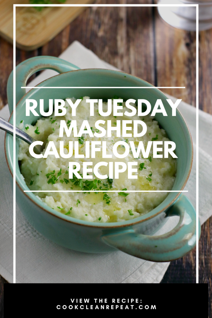 Another pin showing the finished mashed cauliflower in the background and the title in the middle.