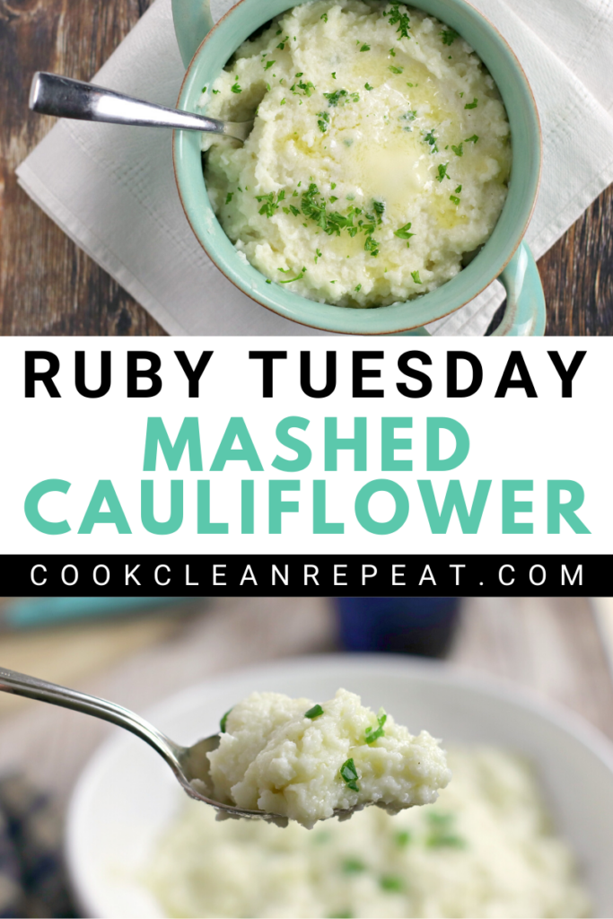 A pin showing the finished Ruby Tuesday mashed cauliflower recipe ready to be served.