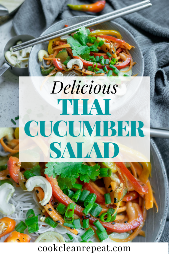 This pin image shows the title in the middle in blue letters with the photos of the finished salad in the background.