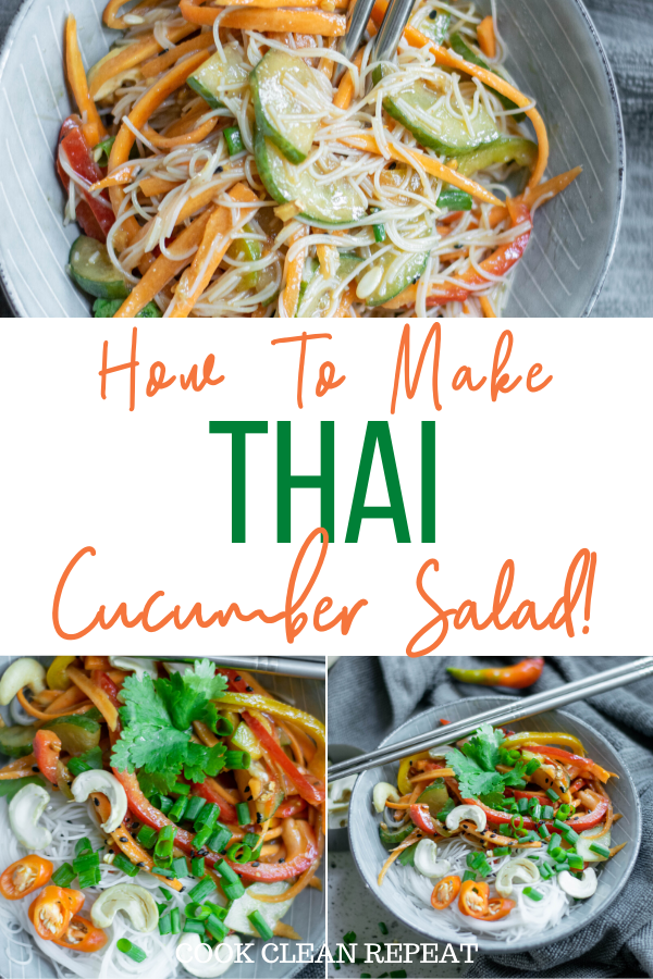 A pin that shows the title in the middle with photos of the finished Thai cucumber salad on top and bottom.