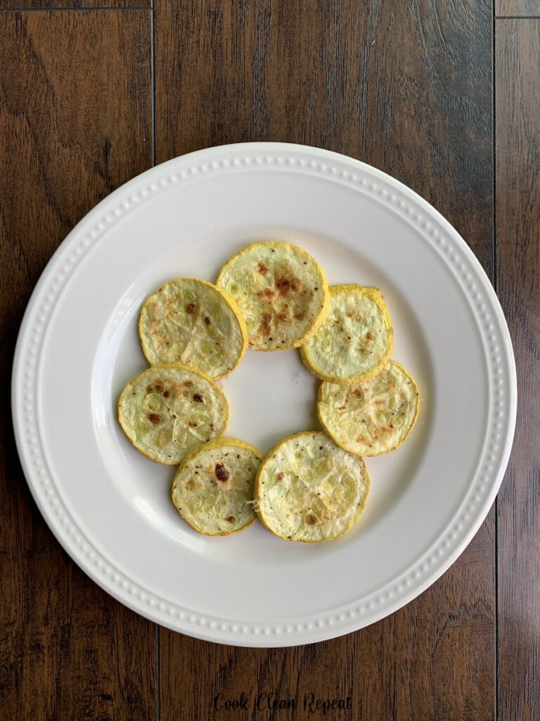 A top down look at the finished squash on a plate ready to eat.