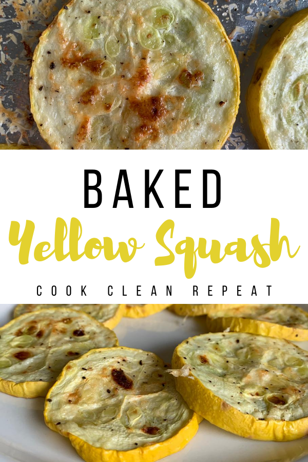 This is a baked yellow squash recipe pin showing the finished recipe ready to eat.