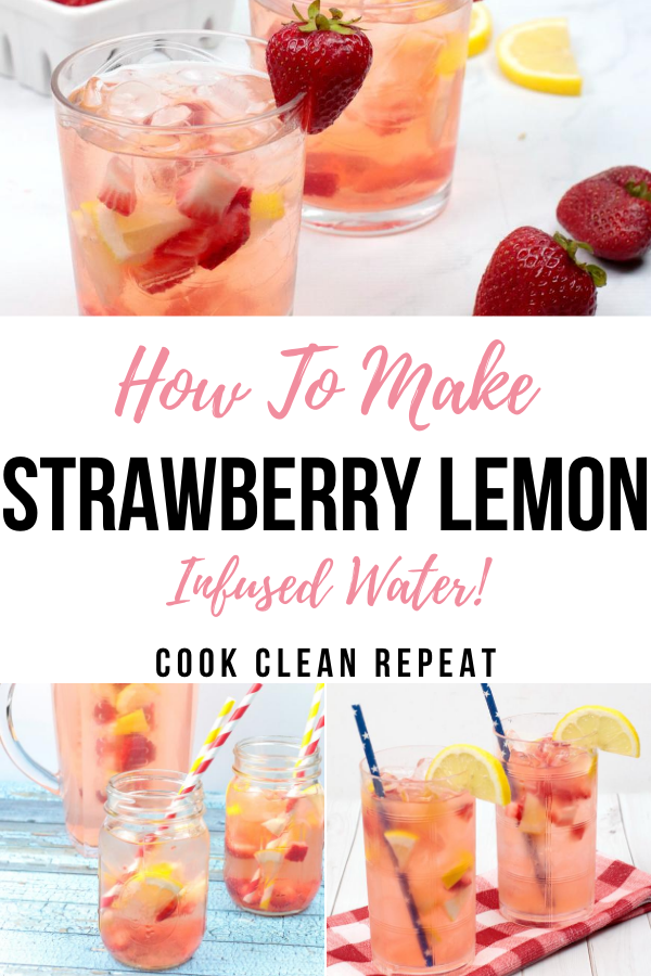 Another pin showing the finished strawberry lemon water ready to be served.