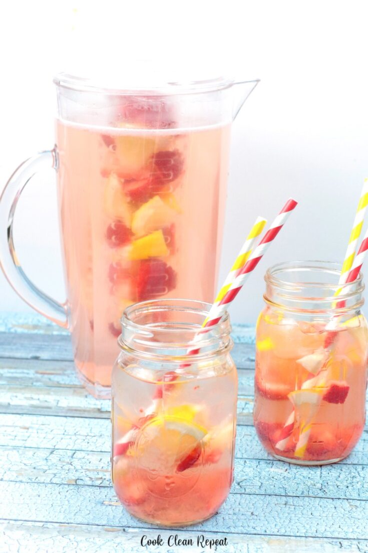 Some glasses of this delicious strawberry lemon water ready to drink.
