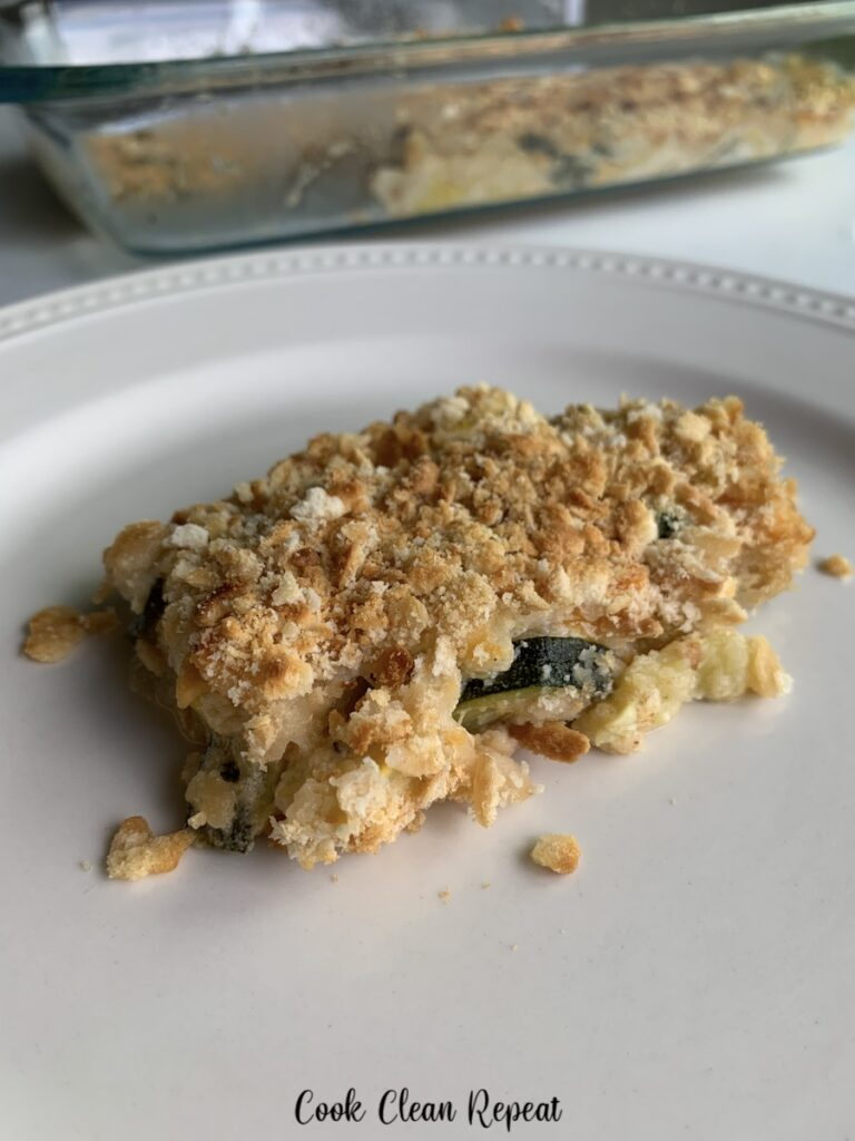 A close up view of the this delicious casserole recipe ready to serve.