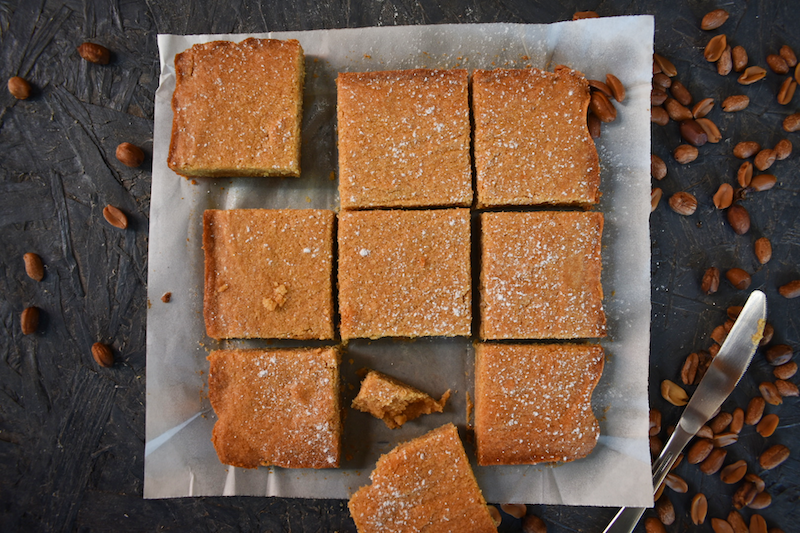 Top down look at the finished peanut butter blondies ready to eat.