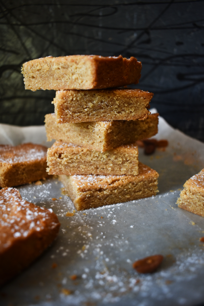 Stacked up finished blondies ready to eat.