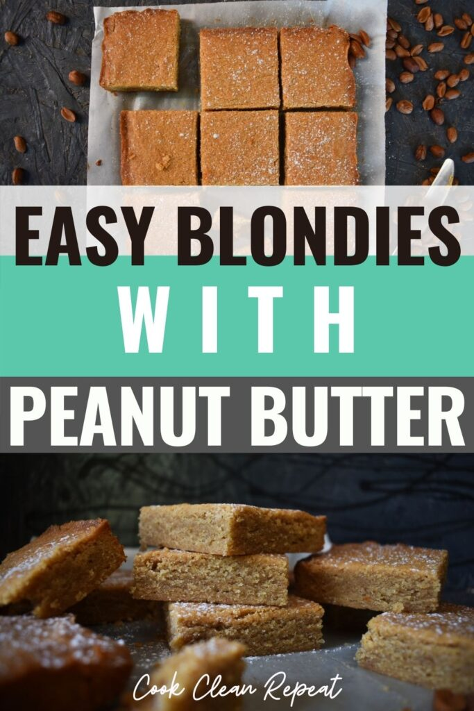 Pin showing the finished peanut butter blondies ready to eat.