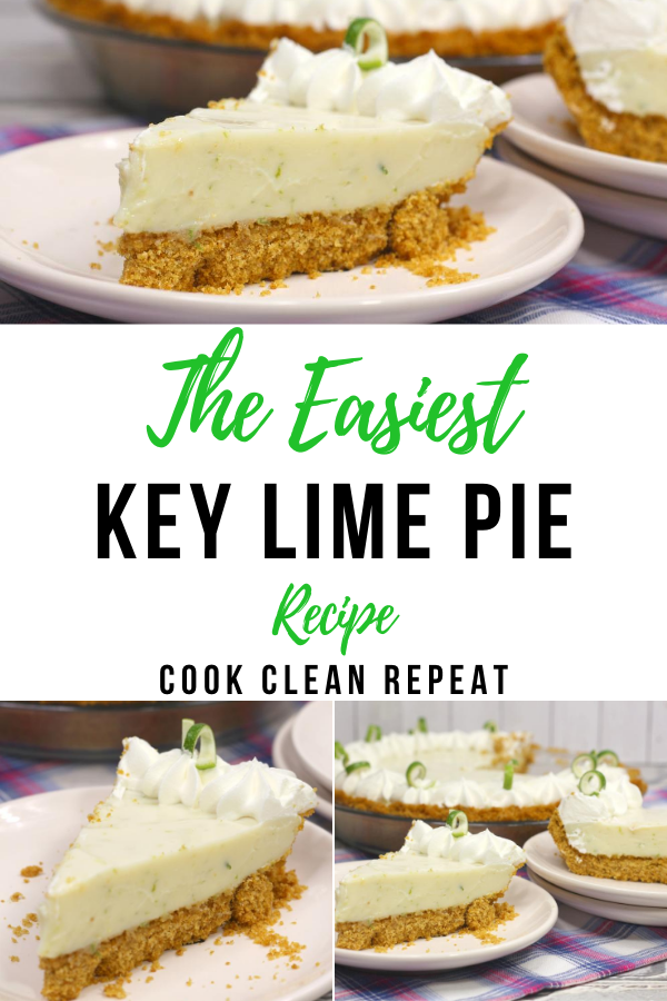 The pin showing the delicious easy key lime pie recipe finished and ready to be served.