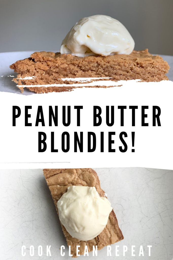 Pin peanut butter blondies showing the title in the middle with photos top and bottom.