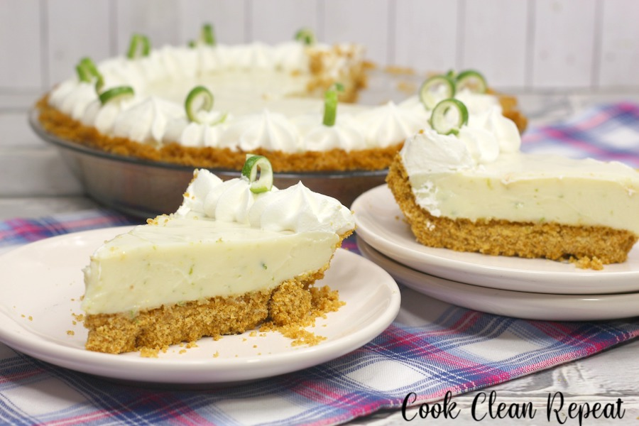 Featured image showing a few slices of the key lime pie recipe finished and ready to serve.