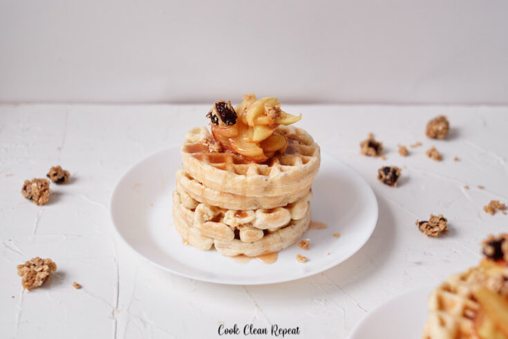 Featured image showing the finished apple fritter waffles ready to eat.