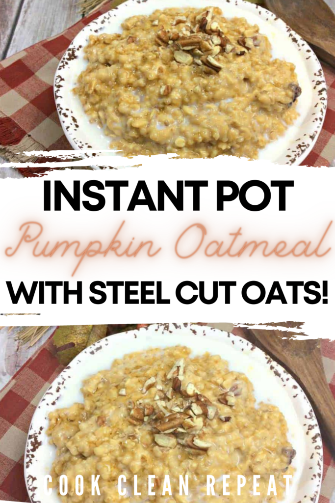 Pin showing the finished pumpkin oatmeal ready to eat.